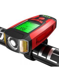 Fahrradlicht Fahrradcomputer 3-Modus-Hupen-Tachometer USB-Lade-LED-Licht