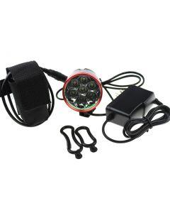 7T6 Led-Fahrradbeleuchtung Roter Kopf 7 * Cree Xm-L T6 Max 6000 Lumen 3 Modus-Front-Bicycle-Licht Mit 4 * 18650 Batteriepack