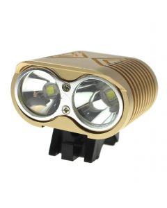 Led-Fahrradbeleuchtung 2 * Cree Xm-L2 4 Modi Max 2000 Lumen Led-Fahrradlicht Mit 4 * 18650 Batteriepack-Khaki-Farbe