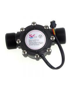 Yf-G1-Kunststoff-Wasserfluss Dn25 Hall-Sensor-Durchflussmesser / Counter - Schwarz