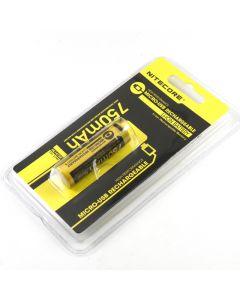 Nitecore Nl1475R 750Mah 14500 3.6V 2.7Wh Hochleistungs-Micro-Usb-Wiederaufladbare Li-Ion-Batterie