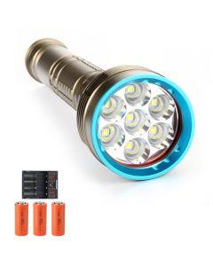 14000 Lumen 7 * L2 / T6 Tauchlampe Tauchlicht 26650 Wiederaufladbare Tauchblend-Taschenlampe