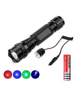 501B 1 Modus ROT/Grün/Blau/UV 395nm Licht LED Taschenlampe mit di-funktionalem 2-in-1-Fernschalter