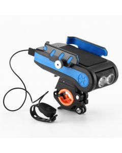 4000mAh LED Fahrradbeleuchtung Fahrradlicht vorne mit Horn Handyhalter USB wiederaufladbare Taschenlampe