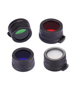 Nitecore Rgb / W (Rot, Blau, Grün, Weiß) 40Mm Filter / Diffusor Fit Für Nitecore Ea4, Mh25, P25 Led-Taschenlampe